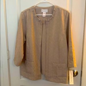 New Alfred Dunner Almond Open Front Jacket Size 18